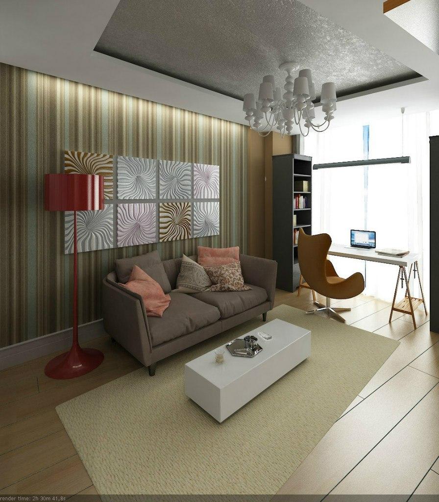 Проект студии из однокомнатной квартиры 40 м с оригинальной геометрией.