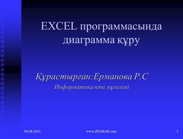 Қазақша презентация (слайд): Информатика | EXCEL программасында диаграмма құру