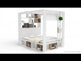 Кровать со стеллажом и балдахином