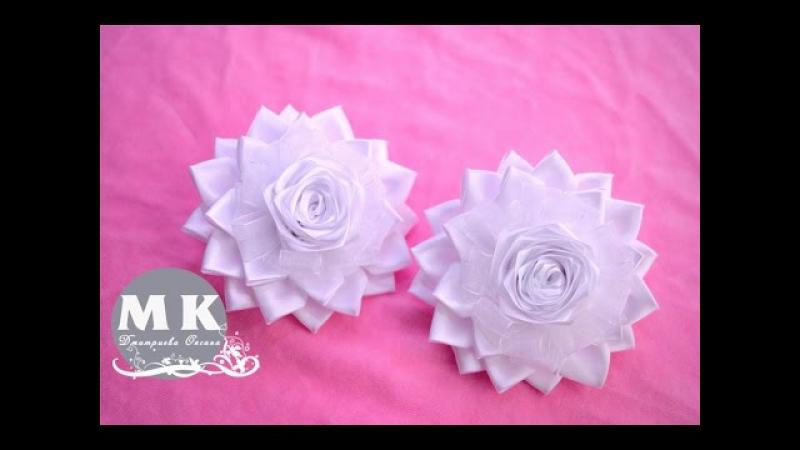 Мастер-класс Канзаши.Цветы из лент.Резинка для волос.Нарядные банты/Scrunchy.Kanzashi flower.