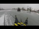 Экстремальное катание по льду на квадроцикле и тюбинге