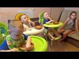 Тройня многодетной семьи обедает