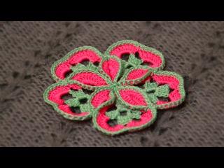 Объемный цветочек из мотивов. Вязание крючком. 3D crochet Flower of square. Starburst Hotpad