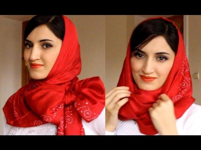 Как красиво ЗАВЯЗАТЬ ПЛАТОК ШАРФ КОСЫНКУ-4 КРАСИВЫХ варианта headscarf