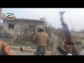 #Сирия. Снайпер Сирийской армии произвел HeadShot боевику (18+)