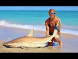 Fishing GIRL lands Big SHARKS on Beach Video with HOW TO tips