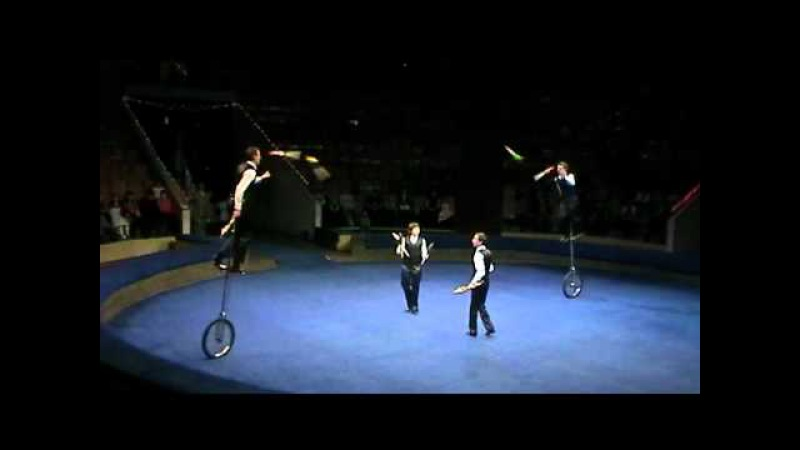 Circus jugglers on monocycles Chugunovs family