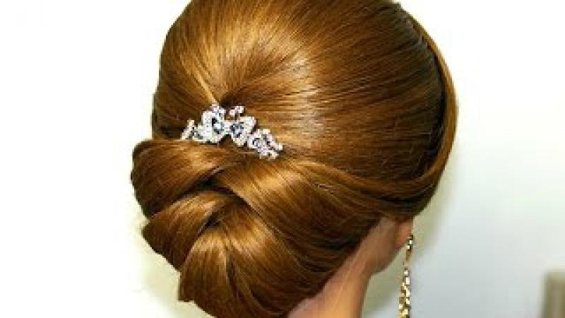 Элегантная свадебная прическа на средние волосы
