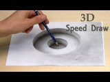 Drawing in 3D a hole/ Illusion anamorphic painting