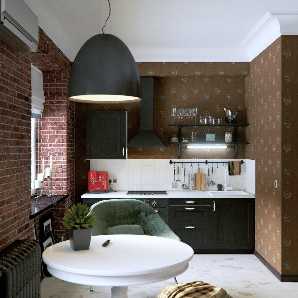 Проект и его реализация для квартиры 35 м от архитектурного бюро DAO, Новосибирск.