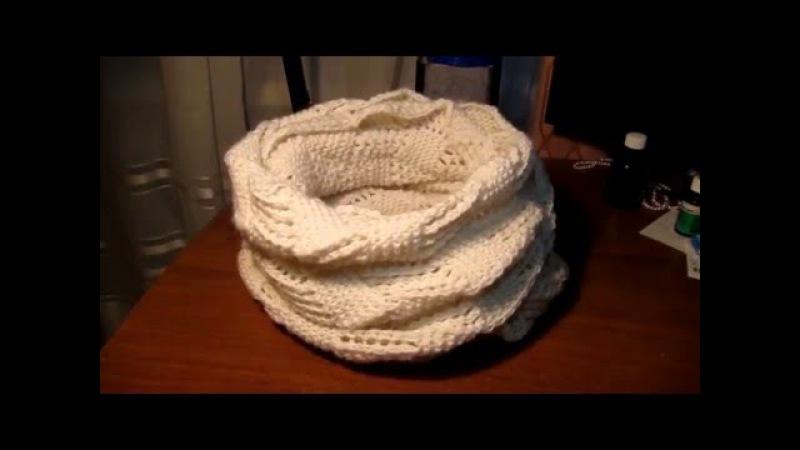 Вяжем круговой ажурный шарф-снуд (хомут) спицами. Мастер-класс вязания для начинающих