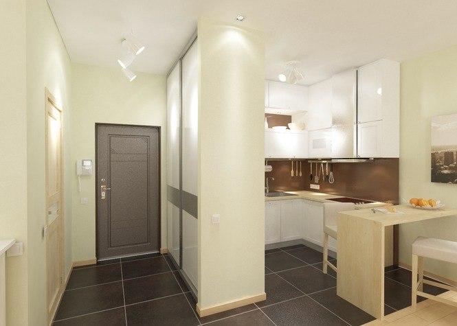 Проект квартиры-студии 30 м под новострой в Сочи.