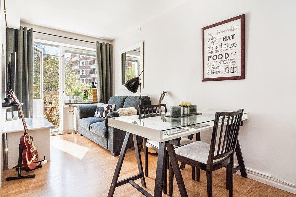Интерьер квартиры-студии 31 м в Европе.
