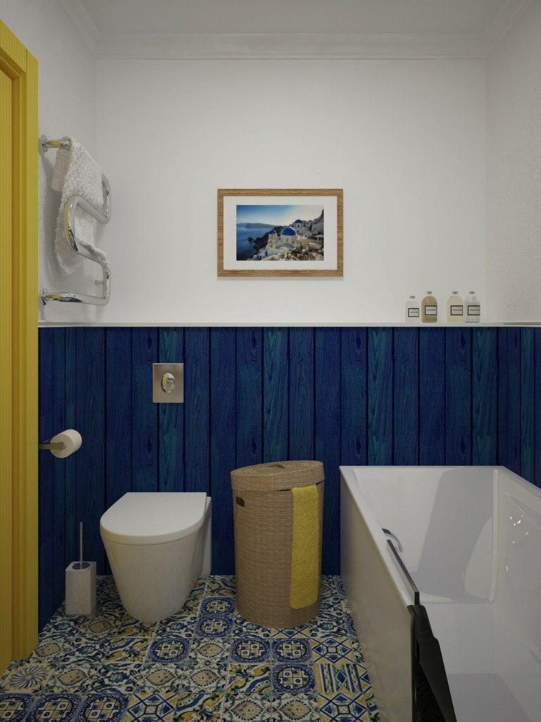 Проект студии 28 м для молодой пары, второе жилье для отдыха в морском городе.