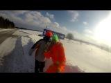 Лютый сноукайтинг 22.02.16 Чусовой. Snowkiting Flysurfer
