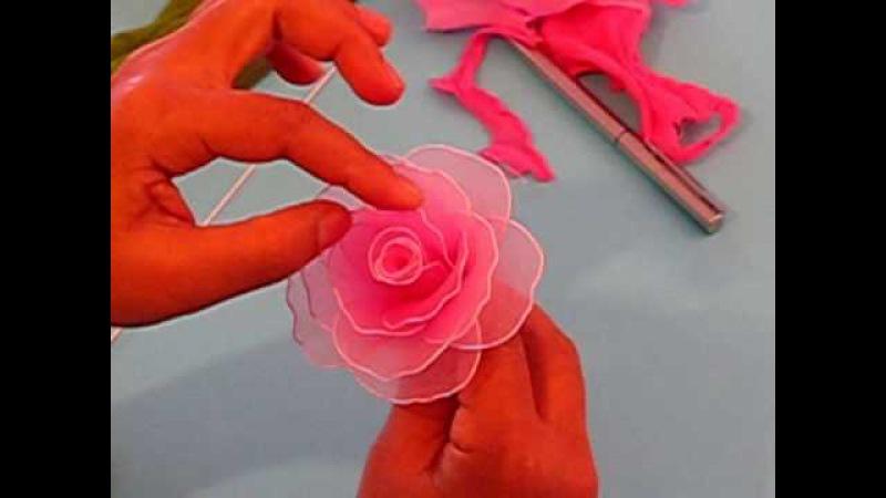 Цветы из капроновой ленты своими руками пошаговое