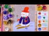 Как нарисовать снеговика на лыжах - урок рисования для детей от 5 лет, рисуем дома поэтапно