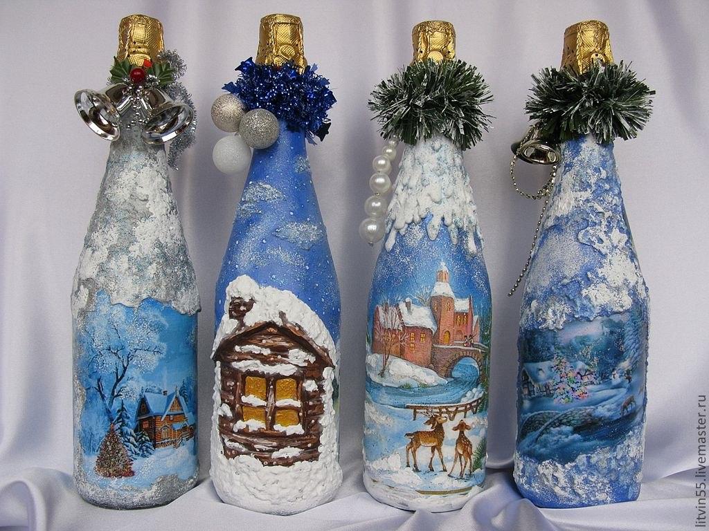 Украшение бутылки на новый год своими руками фото