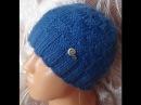 Мужская шапочка с шахматным узором Men's hats knitting