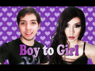 Boy to Girl Makeup with Lip sync - FULL body - Maquillaje de Hombre a Mujer