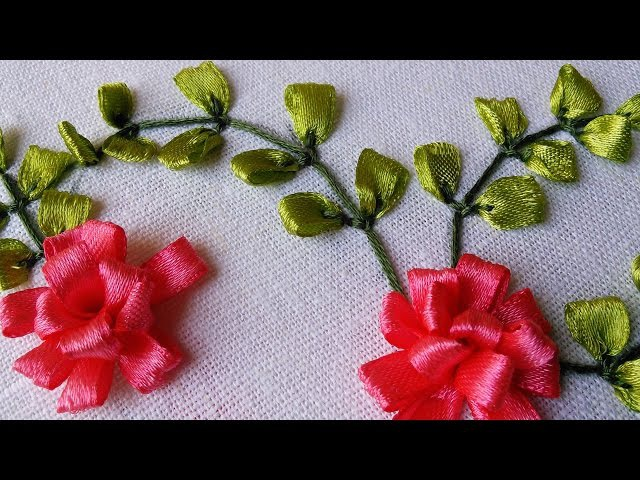 Ribbon Embroidery Tutorial | Flower Design | HandiWorks 41