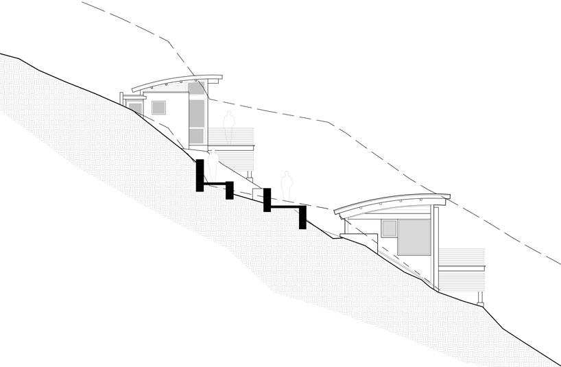 Студия и помещение для йоги в зданиях на склоне