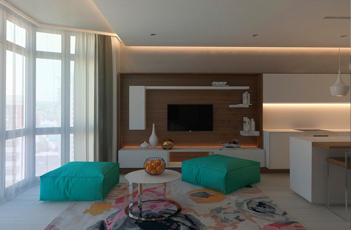 Интерьер бирюзово-песчаной спальни