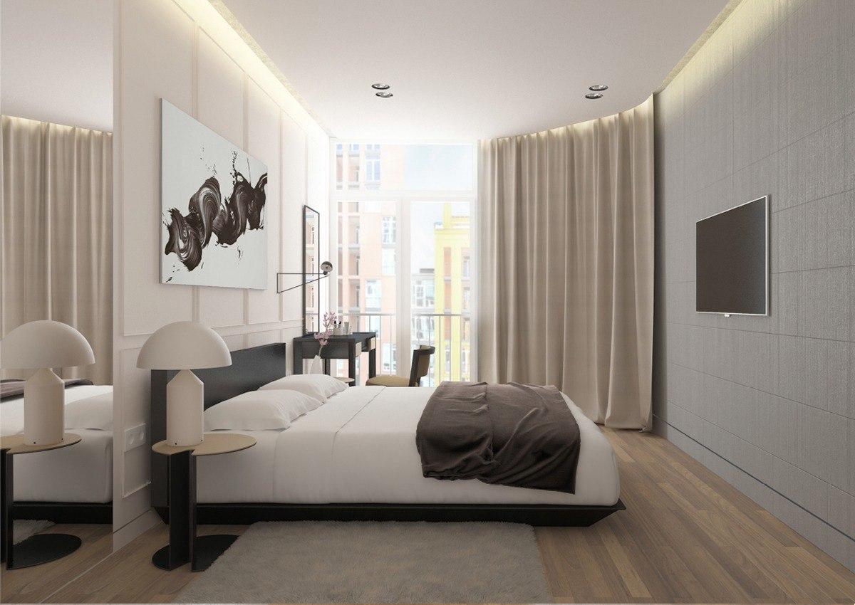 Интерьер спальни в кофейных тонах
