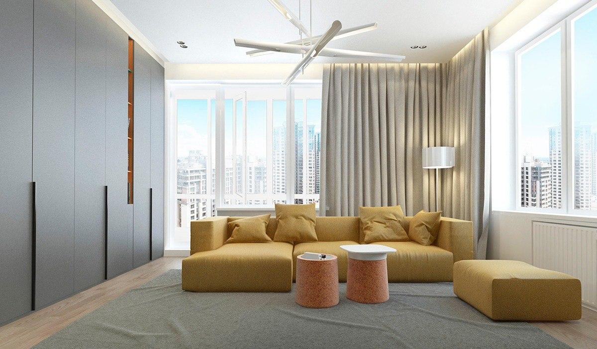 интерьер квартиры с горчичным контрастом