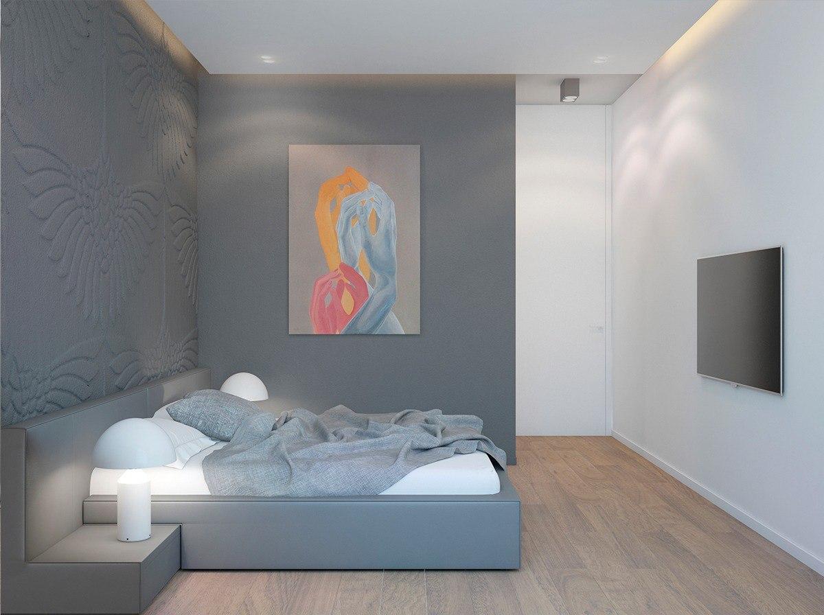 стильный дизайн квартиры в серых тонах