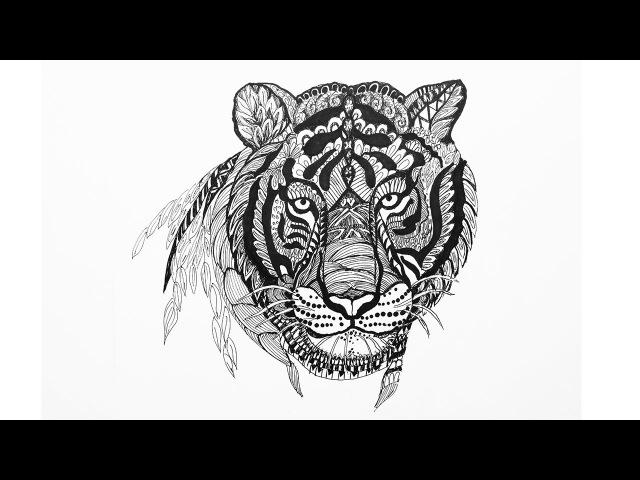 Doodling Zentangle Как рисовать ДУДЛИНГ узоры ТИГР Уроки рисования Art School