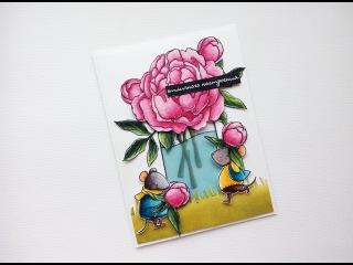 Раскрашивание штампов, урок 2, часть 2/ Coloring with watercolor markers, tutorial #2.2