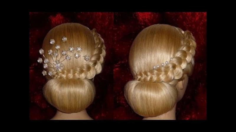 Вечерняя, свадебная причёска на средние/длинные волосы.Причёска на выпускной.Пу...
