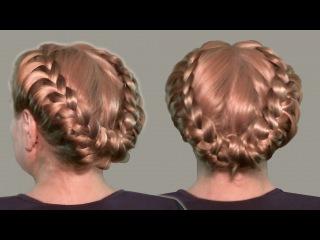 Прическа с Косами Видео Уроки Онлайн 2014. Ретро Прическа. Hairstyles with braids video tutorial.