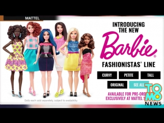 The new fat Barbie doll - Mattel releases new body types - petite, tall, curvy. Обновленные куклы Барби от компании Маттел