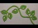 Вязание веточки листиков на шнуре гусеничка урок вязания крючком Crochet leaf sprigs