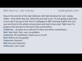 BBC How to... ask a favour (transcript video)