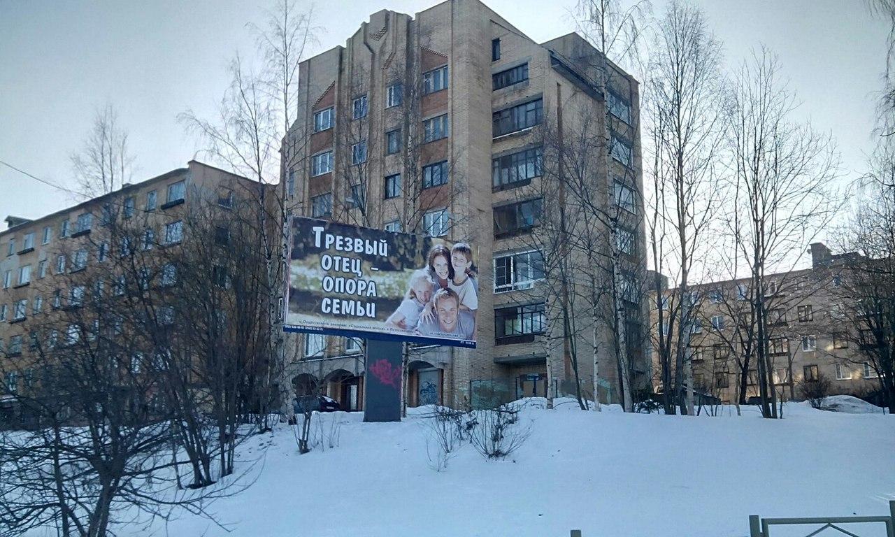 В Петрозаводске разместили баннер «Трезвый отец – опора семьи»