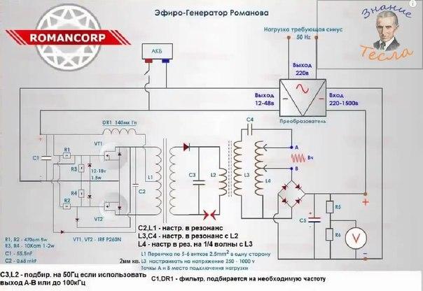 Схема эфирогенератора Романова