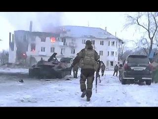 Бой в Углегорске. Бойцы ополчения и Захарченко под обстрелом