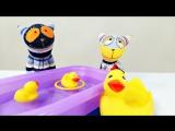Видео с игрушками. Котята Мур и Мяу играют с уточками. Развивающее видео для детей.
