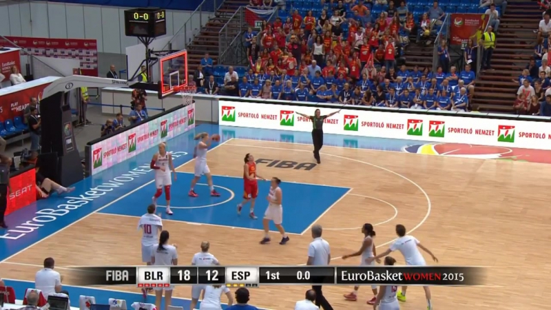 Mariya Papovas Impressive Block Against Anna Cruz EuroBasket Women 2015 Belarus - Spain 2015-06-28