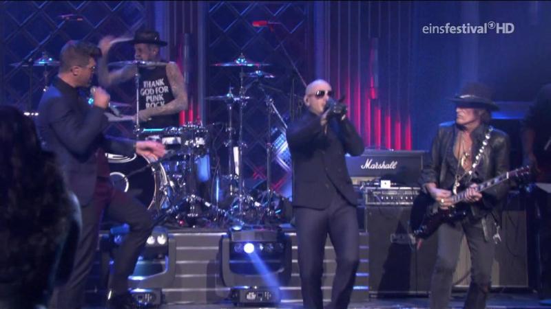 Pitbull feat. Robin Thicke, Joe Perry Travis Barker - Bad Man (The Tonight Show Starring Jimmy Fallon - 2016 feb16)