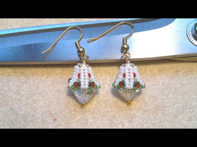 Beading4perfectionists : Beaded bead caps for 10mm Bicone beads earrings beading tutorial
