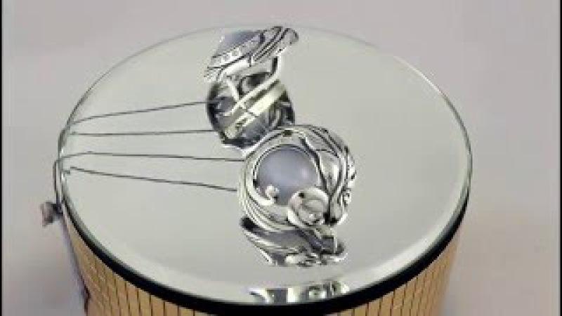 Серебряные серьги 925 проба. Женские серьги с вставкой улексит. 2301