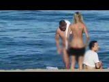 Naked people on the Barcelona beach