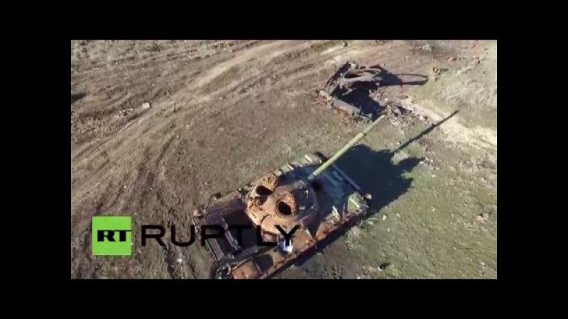 Ukraine Drone captures destruction of Debaltsevo Cauldron one year on
