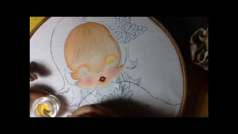 Pintura en tela niña crisantemo 1 con cony