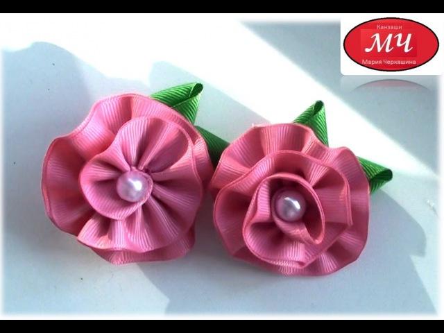 МК Простые резиночки с розовыми цветочками из репсовой ленты DIY Ribbon flowers
