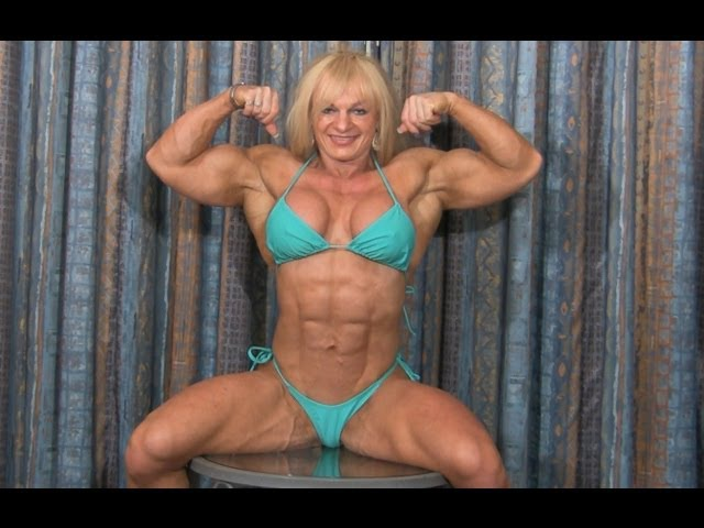 IFBB Pro Female Bodybuilder Maryse Manios Private Posing at the Hotel Room